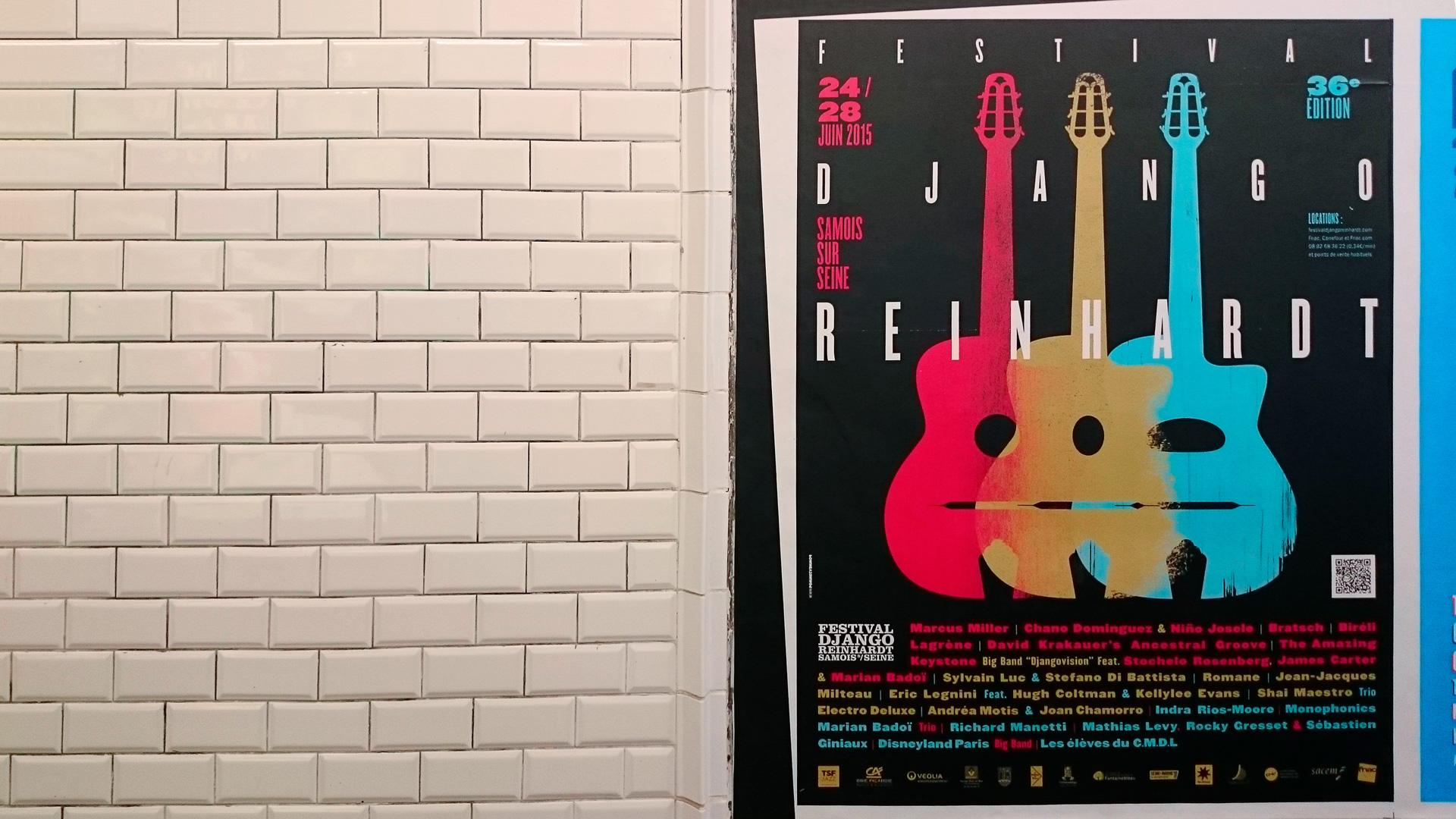 Affiche métro Festival Django Reinhardt conception & création graphique pommeC pommeV graphisme & illiustration Christophe Andrusin