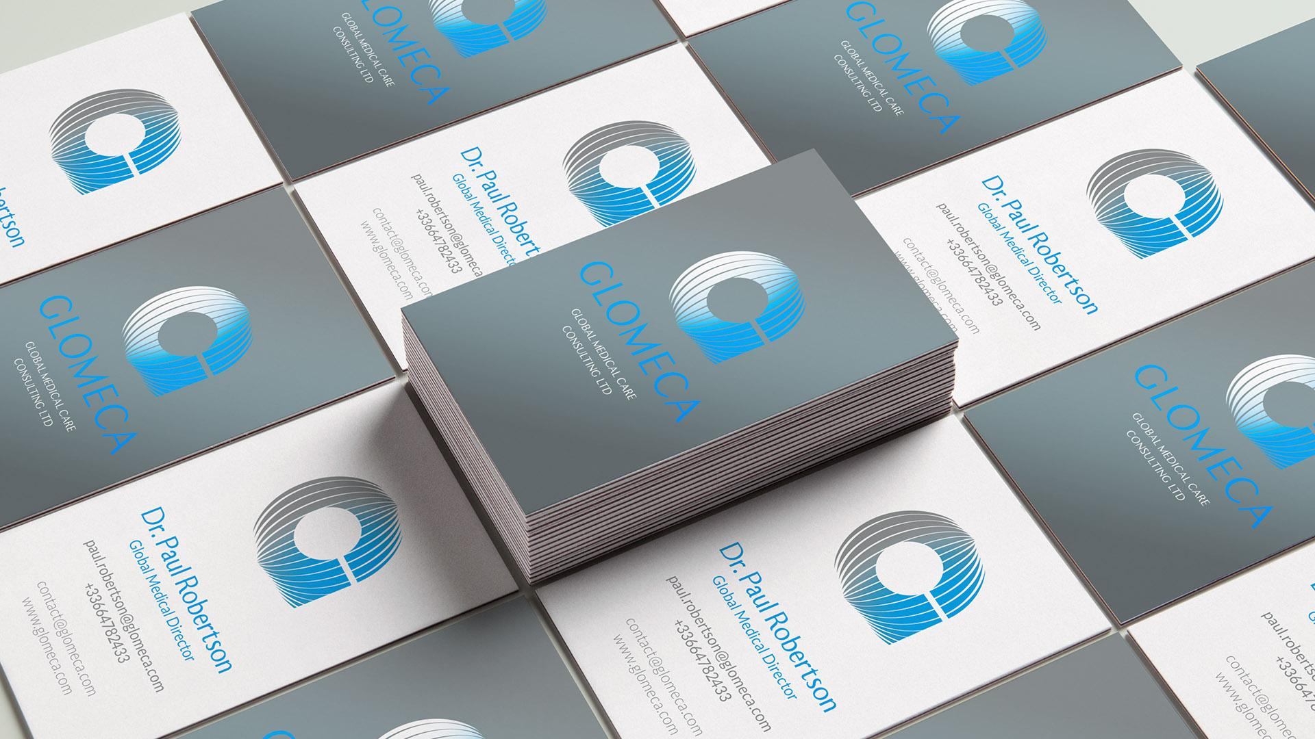 Glomeca refonte de l'identité visuelle : logotype & charte graphique business card édition direction artistique & design graphique pommeC pommeV Christophe Andrusin