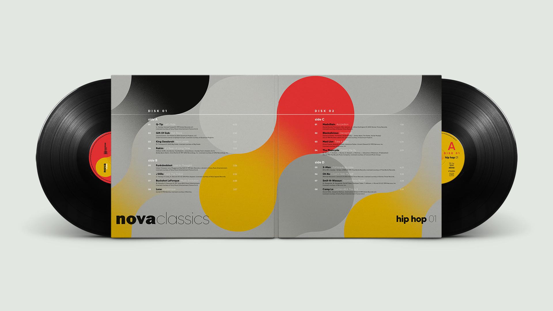 Nova Classics Hip hop double vinyles gatefold conception & création graphique pommeC pommeV graphisme & illustration Christophe Andrusin